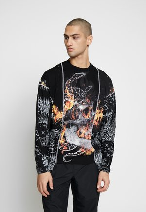CUT AND SEW SKULL FLAME TOP - Pitkähihainen paita - black