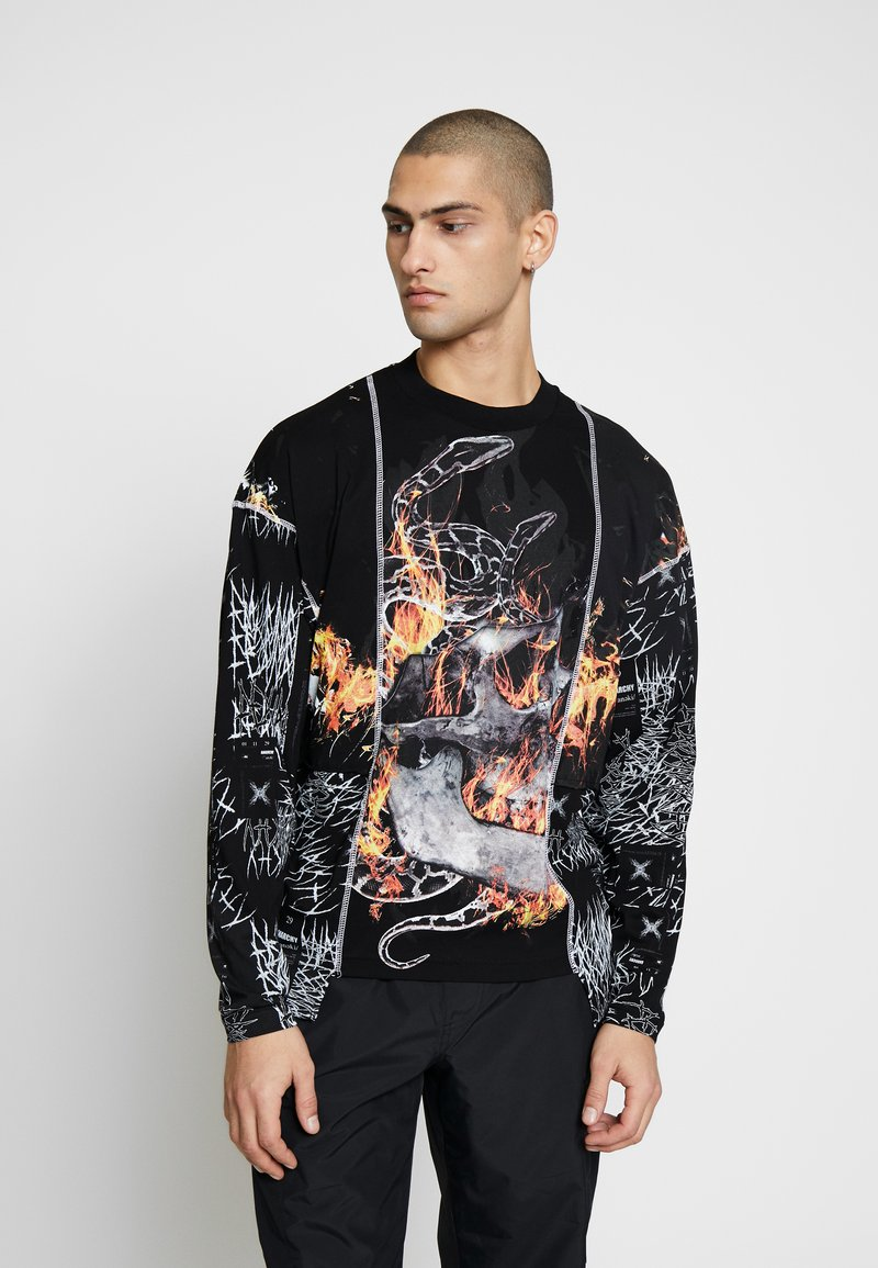 Jaded London - CUT AND SEW SKULL FLAME TOP - Maglietta a manica lunga - black