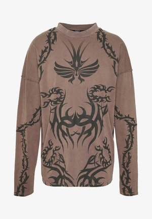 TATTOO LONG SLEEVE GARMENT DYED  - Top s dlouhým rukávem - brown