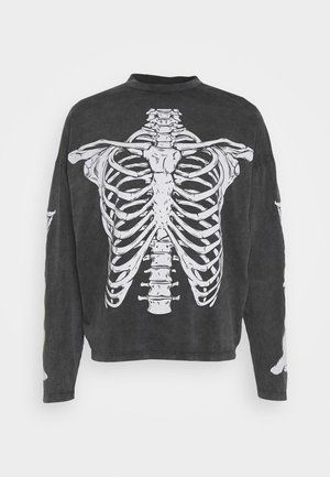 WASHED RIBCAGE  - Long sleeved top - black