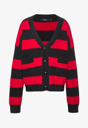 STRIPED OVERSIZED - Kardigan - red/black