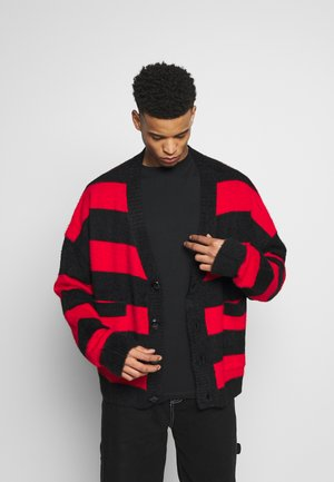 STRIPED OVERSIZED - Chaqueta de punto - red/black
