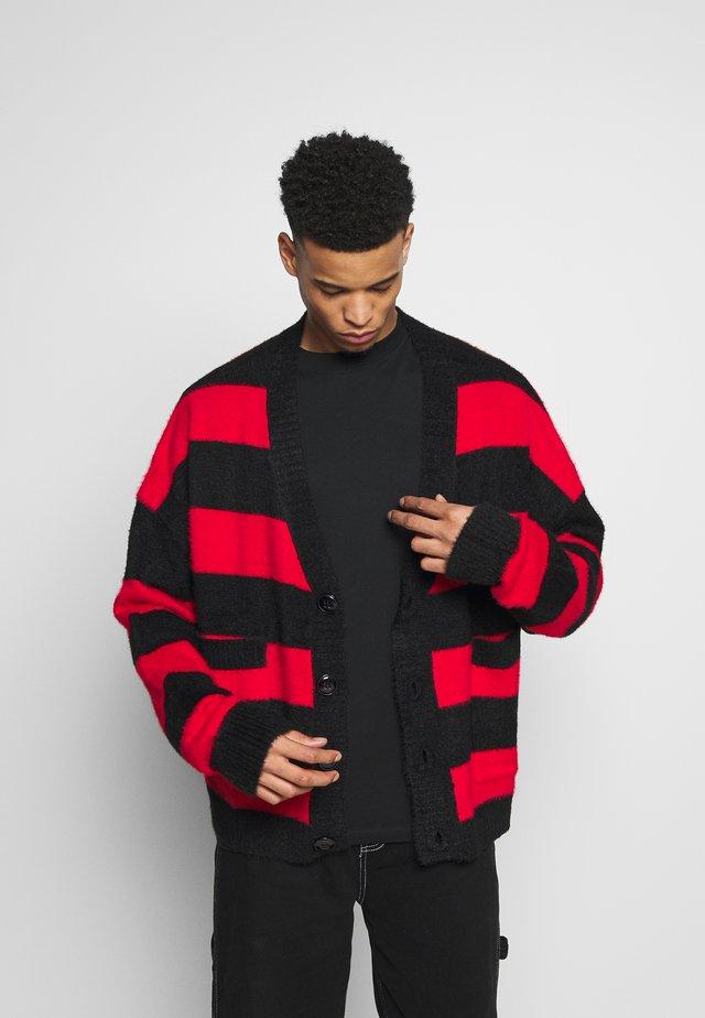 STRIPED OVERSIZED - Cardigan - red/black