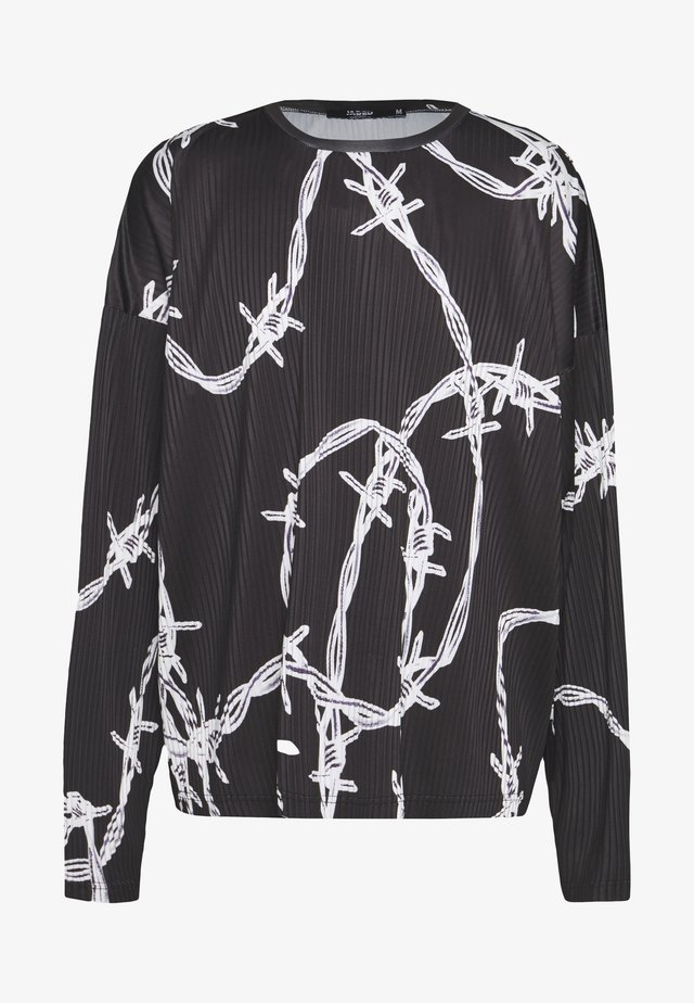 BARBED WIRE PLISSED - Long sleeved top - black