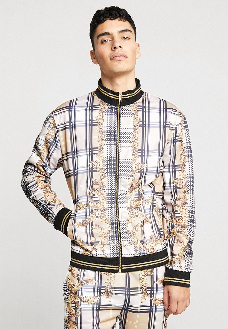 Jaded London - CHECK BAROQUE TRACKTOP - Training jacket - white/beige/black