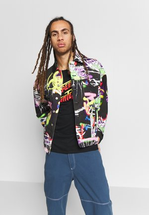 BLACK AIRBRUSH GRAFFITI JACKET - Denim jacket - black
