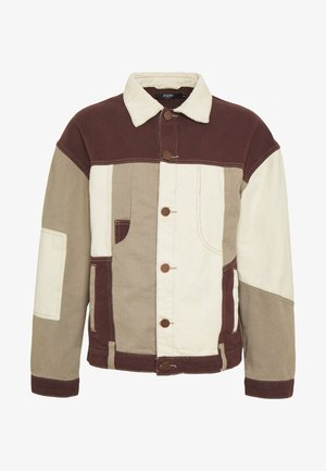 PATCHWORK DETAIL JACKET - Spijkerjas - brown