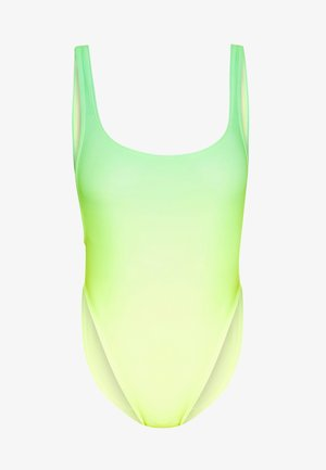 SCOOP NECK SWIMSUIT WITH HEART DIAMANTE THONG BACK - Costume da bagno - green
