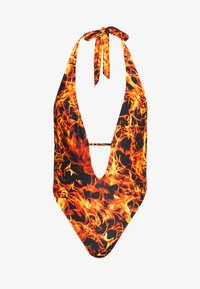 Jaded London - PLUNGE HALTER NECK SWIMSUIT REALISTIC FLAME PRINT - Plavky - red - 4