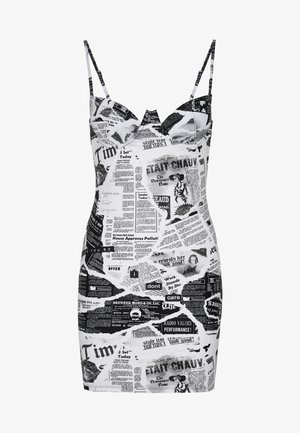 EXREME CUP DETAIL MINI DRESS NEWSPAPER PRINT - Nachthemd - black/white