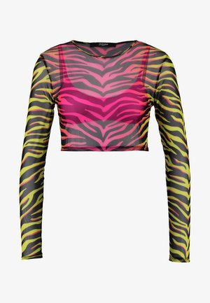 OVERLAY MICRO CROP TIGER SET - Horní díl bikin - neon pink