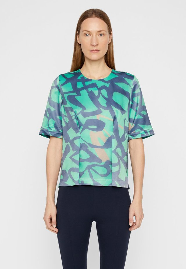 BECKY PRINTED - Bluzka - wasabi / navy print