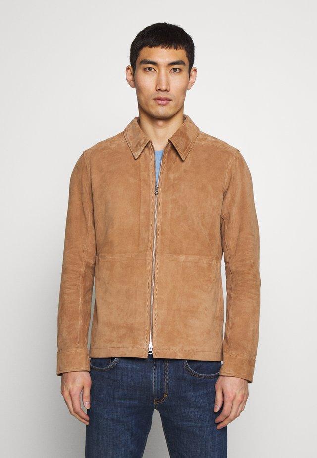 JONAH ZIP FLAT - Leather jacket - burro