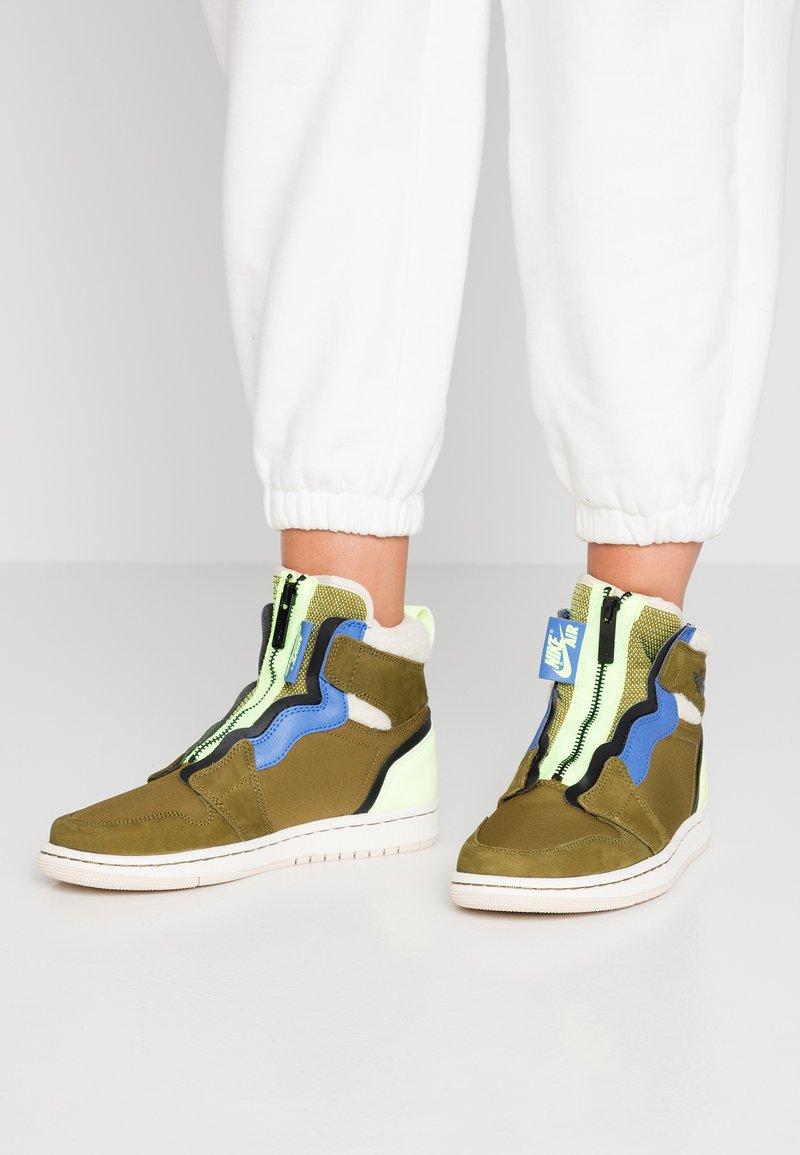 Jordan - AIR ZIP UP - Sneaker high - olive flak/black/volt glow
