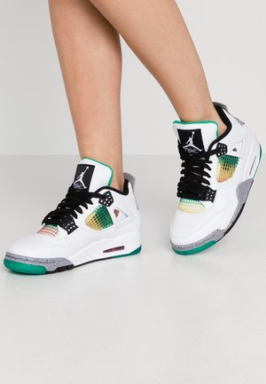 AIR JORDAN 4 RETRO - High-top trainers - white/black/universe red/lucid green/universe gold