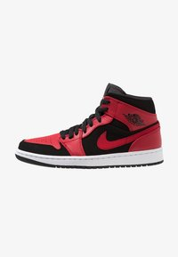 Jordan - AIR JORDAN 1 MID - Korkeavartiset tennarit - black/white/gym red - 0