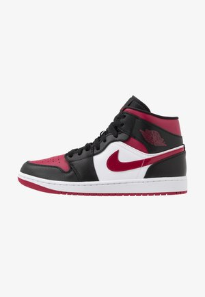 AIR JORDAN 1 MID - Höga sneakers - black/noble red/white