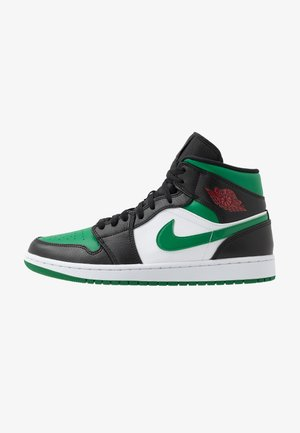 AIR JORDAN 1 MID - Korkeavartiset tennarit - black/pine green/white/gym red