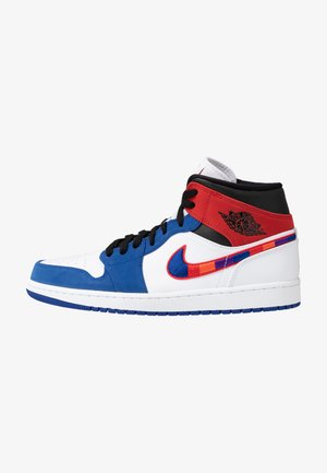 AIR 1 MID SE - Korkeavartiset tennarit - white/university red/rush blue/black