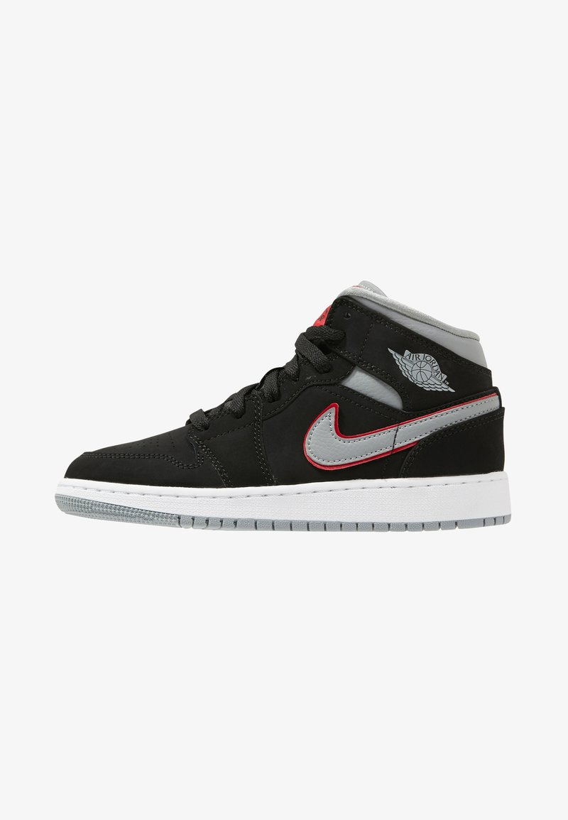 Jordan - AIR 1 MID - Sneakers high - black/particle grey/white/gym red