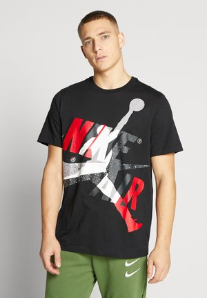 CLASSICS CREW - T-shirt med print - black/white/gym red