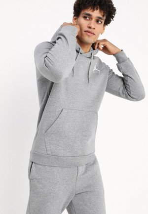 M J JUMPMAN FLEECE PO - Bluza z kapturem - carbon heather/white