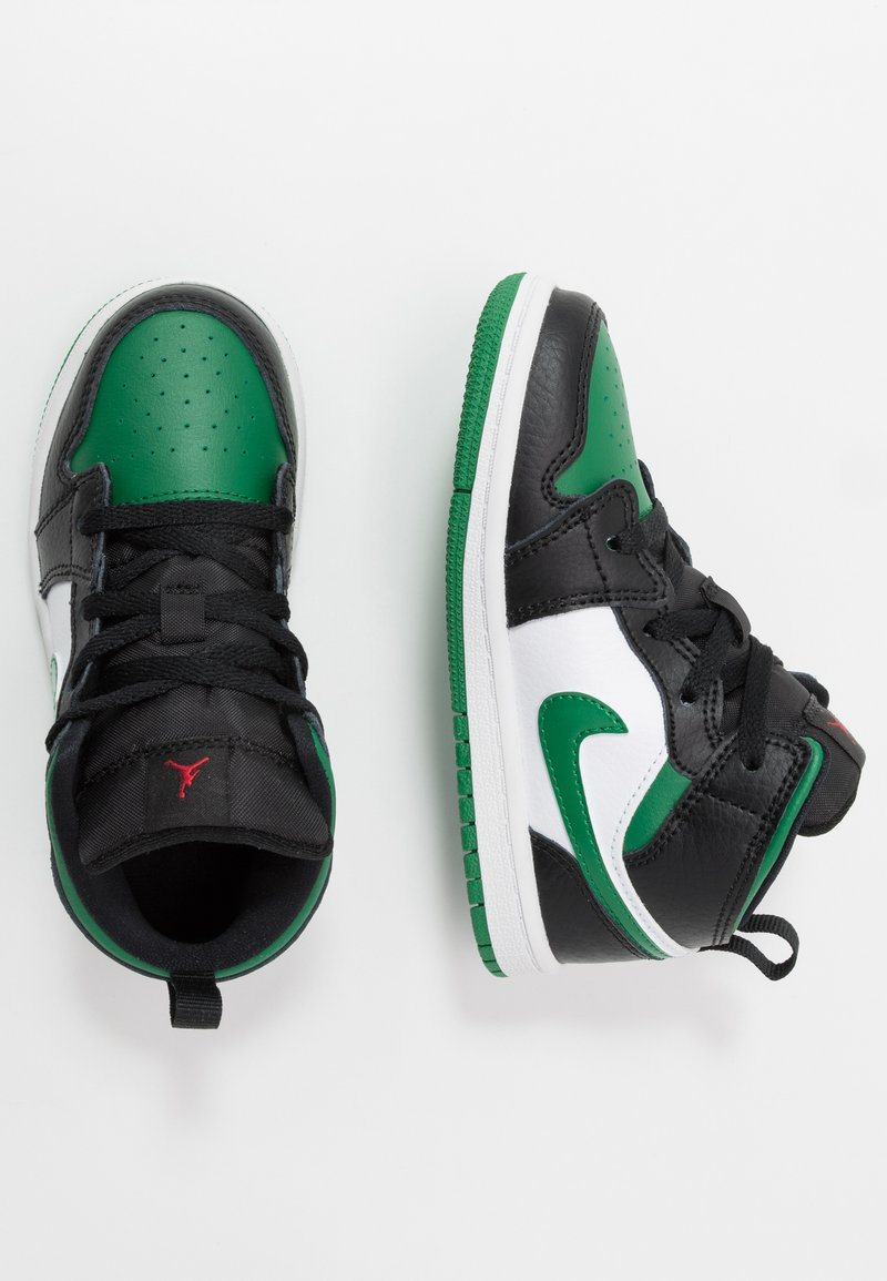 Jordan - 1 MID - Basketbalschoenen - black/pine green/white/gym red