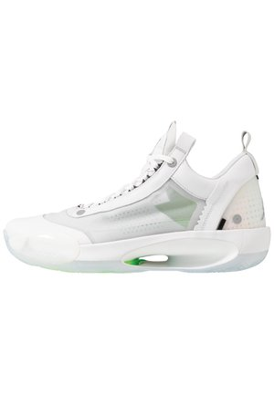 AIR XXXIV LOW - Basketball shoes - white/metallic silver/pure platinum/electric green