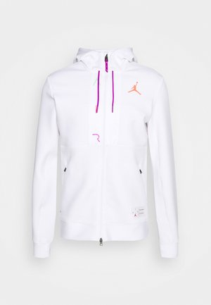 AIR FLEECE FULL ZIP - Huppari - white/vivid purple/infrared