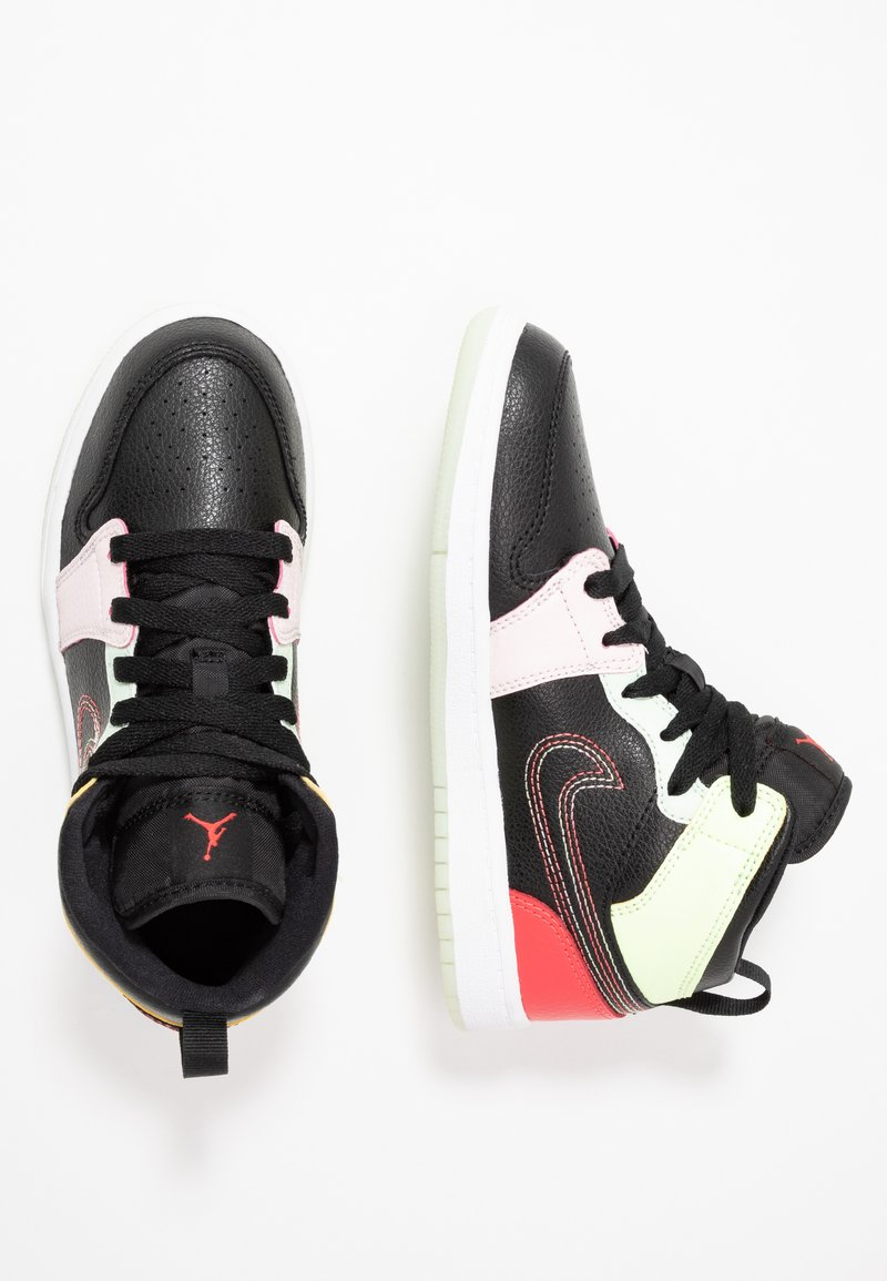 Jordan - 1 MID SE - Basketbalové boty - black/ember glow/barely volt/light soft pink/jade aura