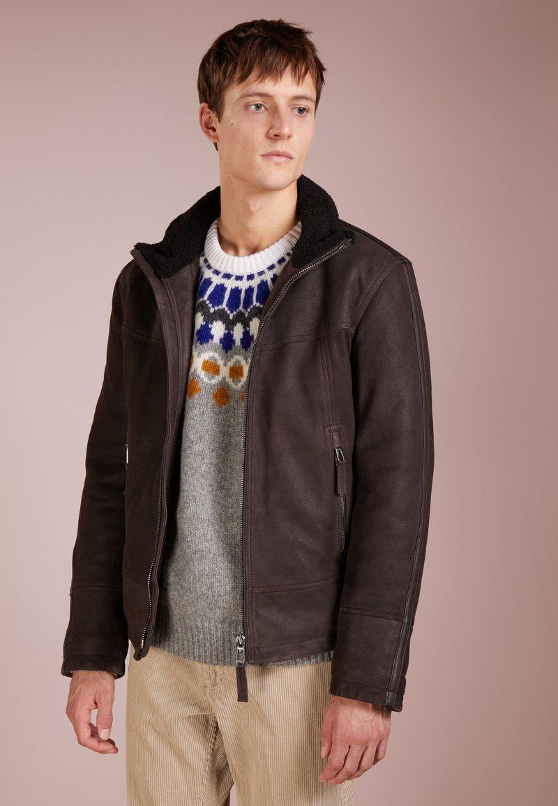 JOOP! - FLUKE - Leather jacket - dark brown