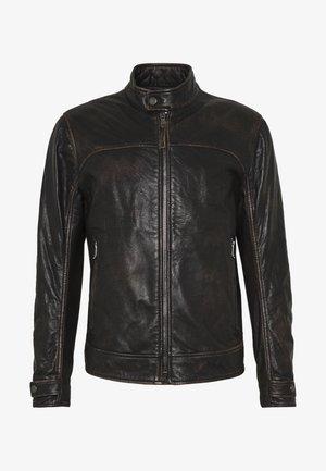 CLEARY - Kožená bunda - black