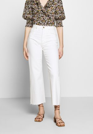 THE BLAKE WIDE LEG CROP CUT HEM - Straight leg jeans - white denim
