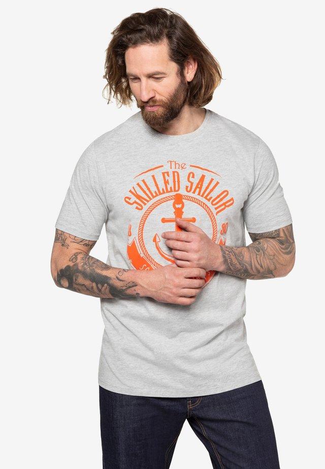 Print T-shirt - gray melange