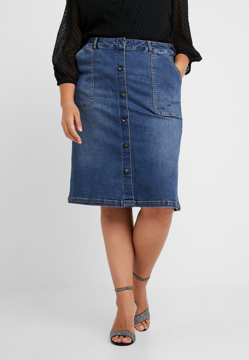 JUNAROSE - by VERO MODA - JRONEJUDY BELOW KNEE SKIRT - Pencil skirt - medium blue denim
