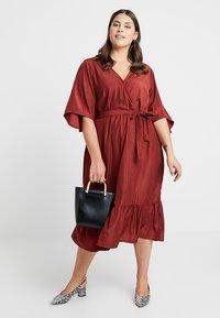 JUNAROSE - by VERO MODA - JRPALISA SLEEVE MIDI DRESS - Day dress - madder brown - 1