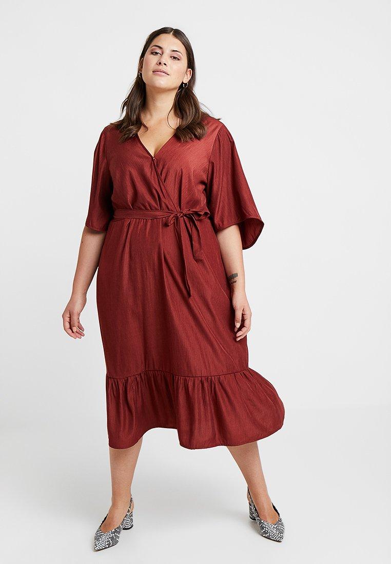 JUNAROSE - by VERO MODA - JRPALISA SLEEVE MIDI DRESS - Day dress - madder brown