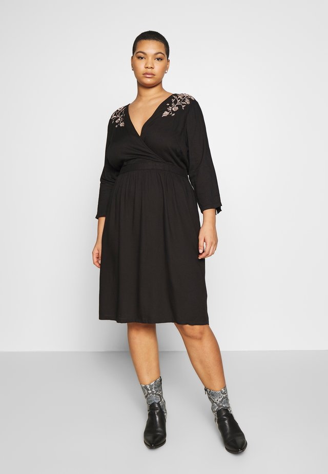 JROCTAVIA SLEEVES DRESS - Korte jurk - black