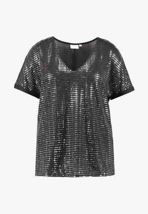 JRIRUK - T-shirt con stampa - black/silver