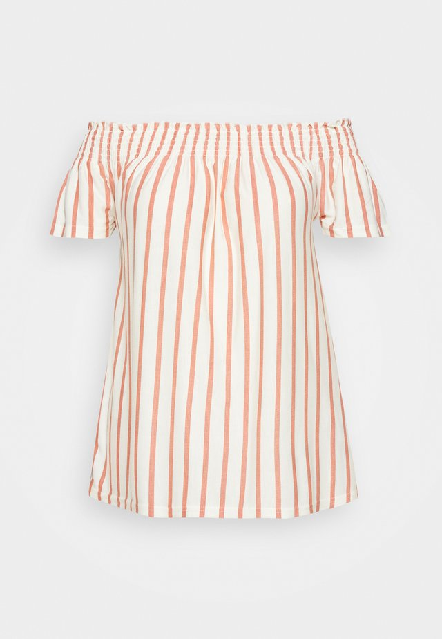 JRALILA OFF SHOULDER - Print T-shirt - vanilla ice/canyon rose