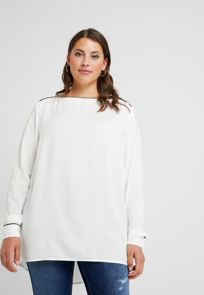 JUNAROSE - by VERO MODA - JRSHAMANTA LONG SLEEVE BLOUSE - Blouse - snow white/black