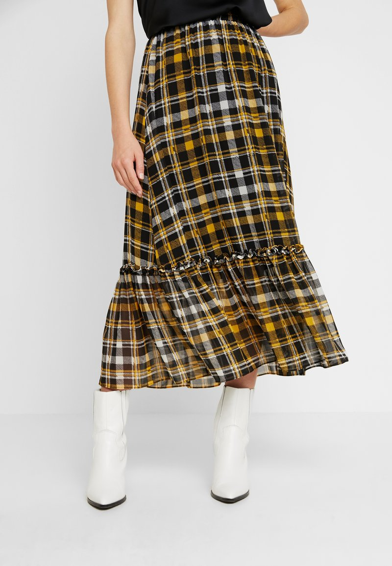 JUST FEMALE - BRIX MAXI SKIRT - Maxi sukně - black/yellow