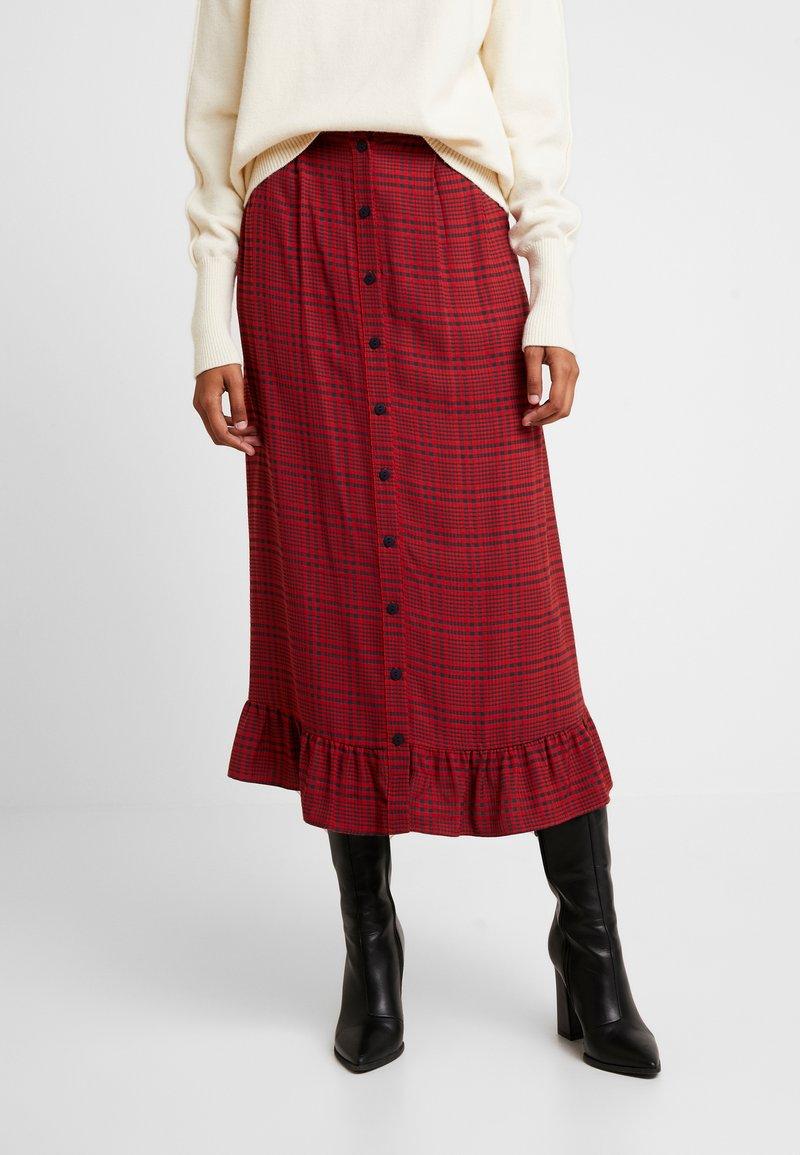 JUST FEMALE - MEGAN SKIRT - Maxi skirt - red/black