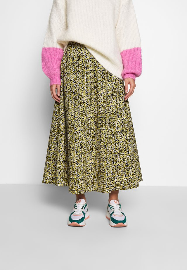 DOVE MAXI SKIRT - Maxi skirt - black/yellow