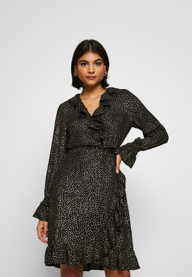 GOLDY WRAP DRESS - Korte jurk - black/gold