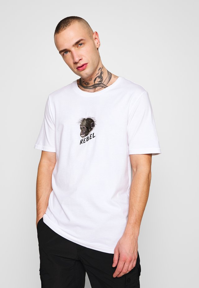 MONKEY ARTWORK TEE - Print T-shirt - white