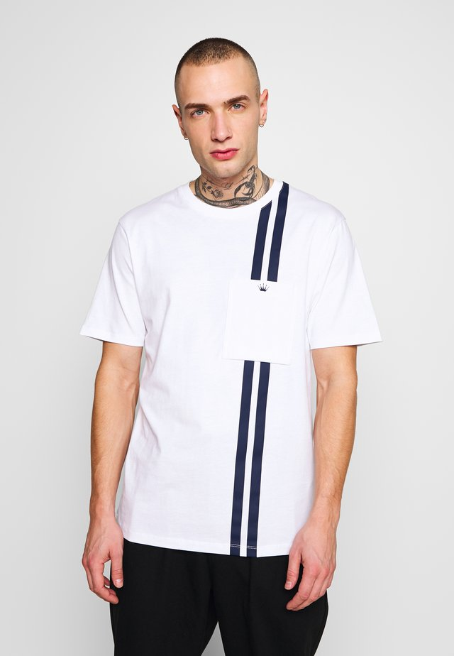 CONTRAST STRIPE TEE - T-shirt con stampa - white