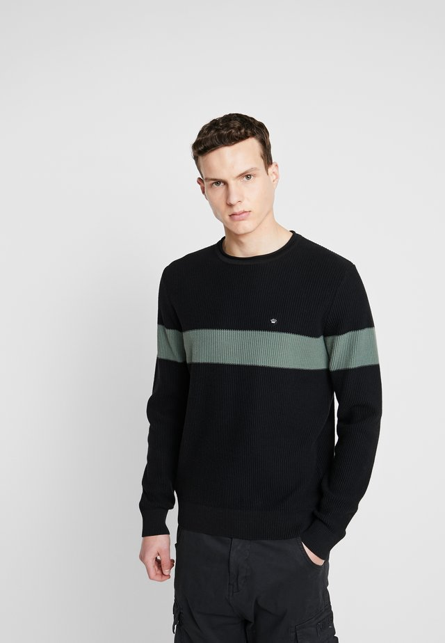 STRUCTURE KNIT STRIPE JUMPER - Jumper - black