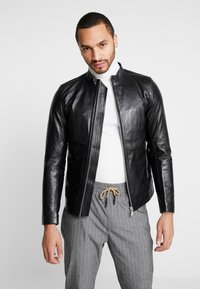 Junk De Luxe - RIDER JACKET - Leather jacket - black - 0