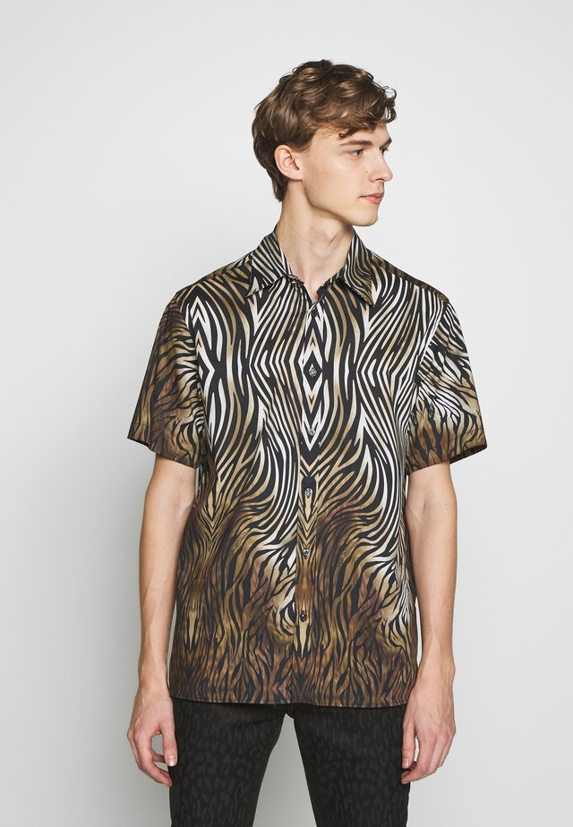 SHORT SLEEVE ANIMAL PRINT - Shirt - black,/brown